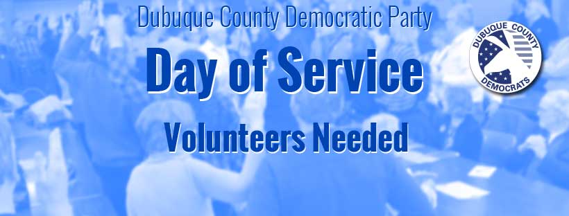 Banner on blurry crowd noting Day of Service, volunteers needed