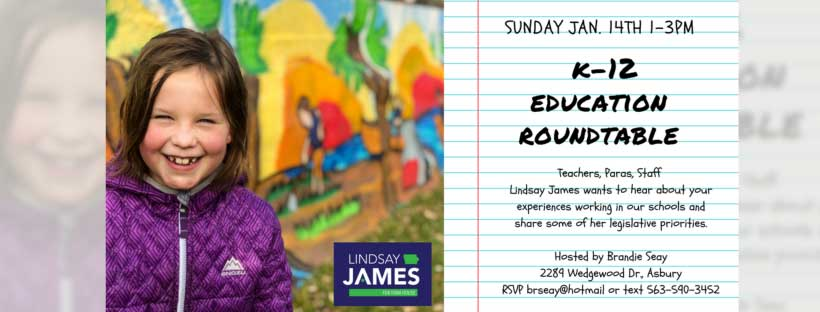 Lindsay James Education Roundtable ad