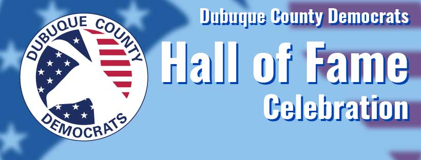 Hall of Fame banner with Dubuque Democrats logo