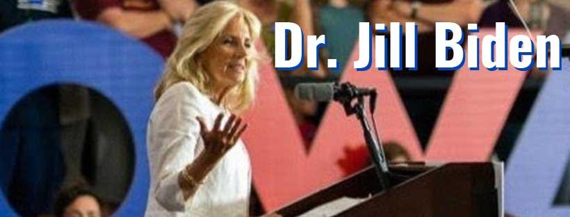 Dr. Jill Biden speaking before a crowd in Iowa