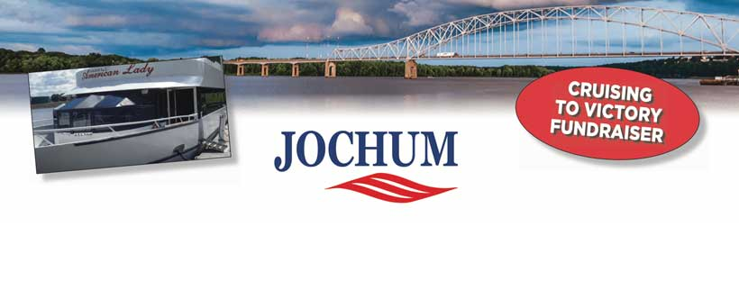 Pam Jochum logo with picture of boat before the Julien Dubuque Bridge