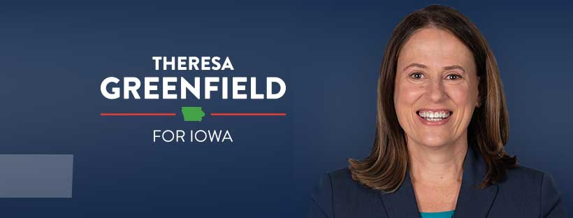 Theresa Greenfield with campaign logo and blue background