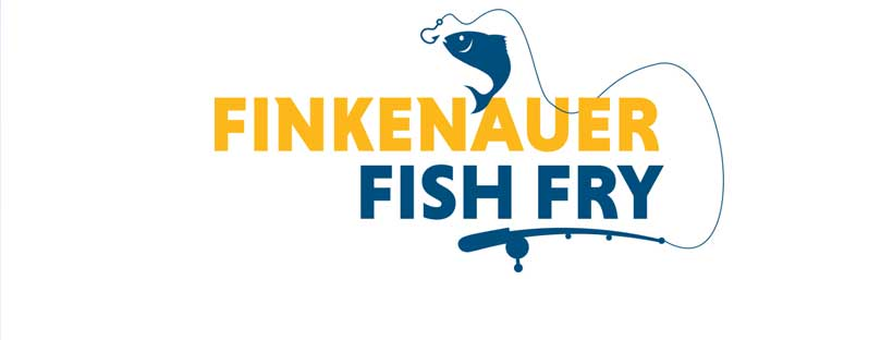 blue fish and pole before Finkenauer Fish Fry logo