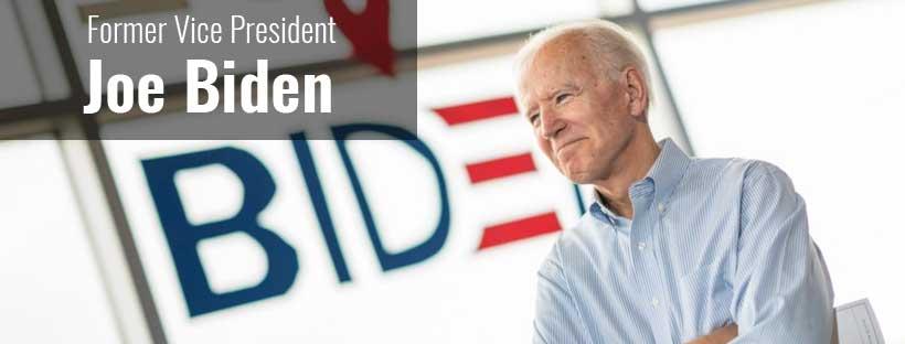 Former Vice President Joe Biden before a campaign logo